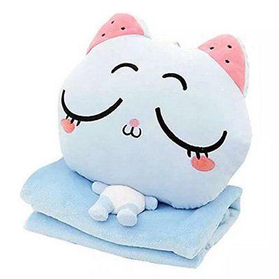 Blue Cat Blanket Pillow Toys Stuffed Animal Folding Pillow Blanket Hand Warmer