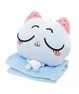Blue Cat Blanket Pillow Toys Stuffed Animal Folding Pillow Blanket Hand ... - $36.35