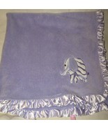 Babykiss Purple Baby Kiss Blanket Zebra Stripe Elephant Satin Ruffle Lovey  - $24.73