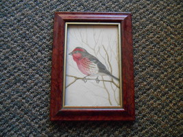 Home Decor Framed Desk Top Picture of Bird w/ Red Maybe Painting or Drawing - $9.99