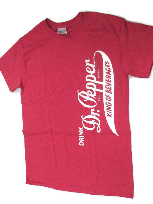 Primary image for Dr. Pepper side logo T-shirt Tee X-Large XLburgundy heather distressed BRAND NEW