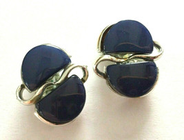 Vintage Signed Coro Blue Lucite Silver tone Clip Earrings - $8.90