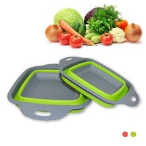 2pcs Vegetable fruit basket set Creative kitchen Folding basket square Leak - $18.99