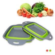 2pcs Vegetable fruit basket set Creative kitchen Folding basket square Leak - $18.99