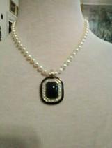 VINTAGE NECKLACE CLIP ON GOLDEN ENHANCER BLACK FAUX ONYX ENAMELLED PAVE ... - $30.00