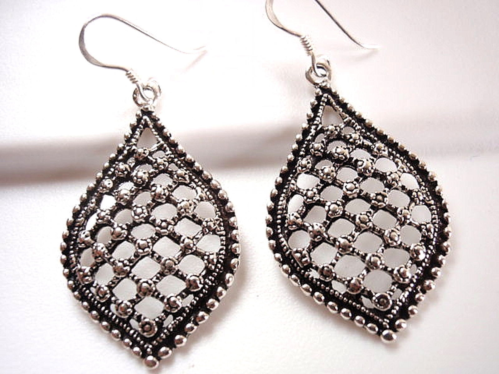 Primary image for Sparkling Patterned Dangle Earrings with Silver Beads Perimeter 925 Sterling