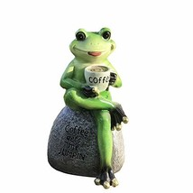 Creative Green Frog Sitting on Stone Statue Drinking Coffee Indoor Outdo... - $23.58