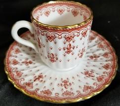 Spode FLEUR DE LYS RED (BONE) Demitasse Cup & Saucer y. 7481 - $37.39