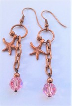 Copper Seastar pending Swarovski Pink round bead Sterling Silver Dangle ... - $12.90