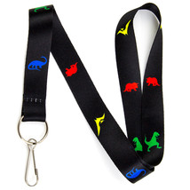 Dinosaur Lanyard Keychain and ID Badge Holder – Durable Black Polyester ... - $7.99