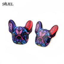 Enamel Animal Pet Dog Stud Earring Women French Bulldog Earings Puppy Fashion Je - $10.44