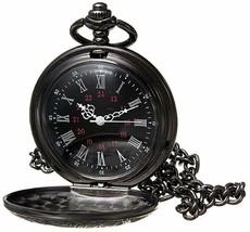 Black Pocket Watch Roman Pattern Steampunk Retro Vintage Quartz Roman Nu... - $22.99