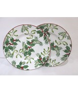 """222 Fifth Christmas Foliage Berries Red Salad 8.5"""" Plates Set Of 2 - $24.99"""