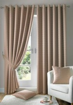 Jacquard Check Latte Beige Lined Anneau Top Eyelet Curtains Drapes 6 Sizes - $45.15+
