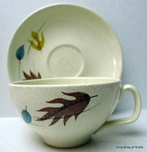 Autumn Falling Leaves Cup and Saucer Set Franciscan - $15.79