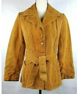 Womens Cowhide Brown Snap Button Front Long Sleeve Jacket Coat w/ Belt S... - $87.07