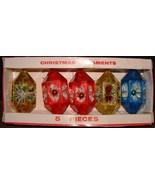 Vintage Set of 5 Plastic Jewelbrite Christmas Ornaments  Poinsettias Wit... - $19.79