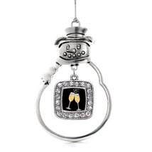 Inspired Silver Champagne Cheers Classic Snowman Holiday Christmas Tree Ornament - $14.69