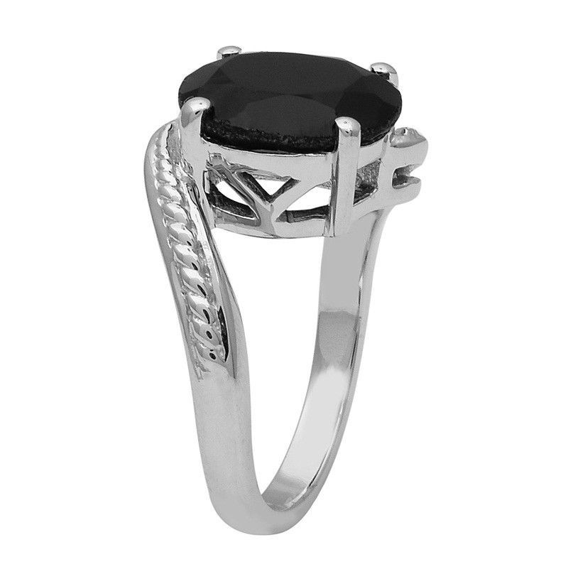 Attractive-Black Spinel 925 Sterling Silver Ring Shine Jewelry Size-7.5 SHRI1457