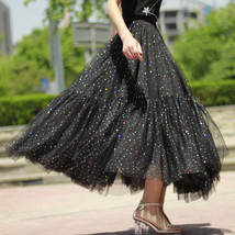 Black Tulle Party Skirt Women Tiered Layered Tulle Skirt Tulle Party Skirt Plus image 2