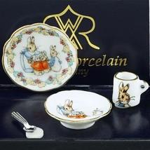 Peter Rabbit Breakfast Set Beatrice Potter 56.389/5 Reutter DOLLHOUSE Miniature - $17.53