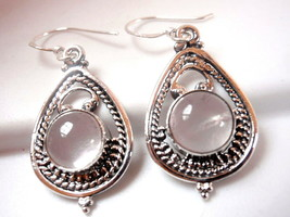 Rose Quartz Earrings 925 Sterling Dangle Drop in Hoop with Silver Dot Accents - $23.75