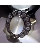 RARE 18k Daisy Cats Eye Moonstone Diamonds halo Edwardian  RING female h... - $5,890.00