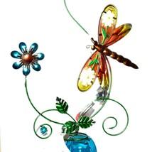 Painted Metal & Glass Dragonfly Garden Hanging Hummingbird Nectar Feeder image 2