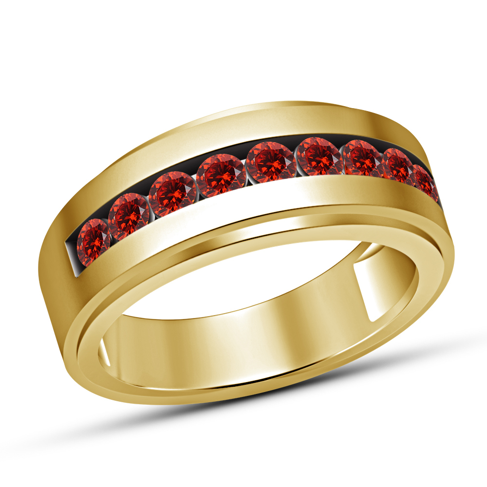 Primary image for Mens 10K Yellow Gold Fn 2 Ct Round Garnet Engagement Pinky Band Ring 925 Silver