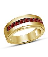 Mens 10K Yellow Gold Fn 2 Ct Round Garnet Engagement Pinky Band Ring 925... - $67.98