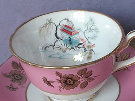 Vintage England Pink Gold and White Bone china tea cup teacup and saucer... - $68.31