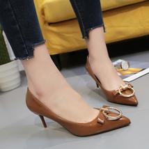 pp322 elegant 7 cm heel pointy pumpw metalic accessory, US Size 4.5-9 brown - $58.80