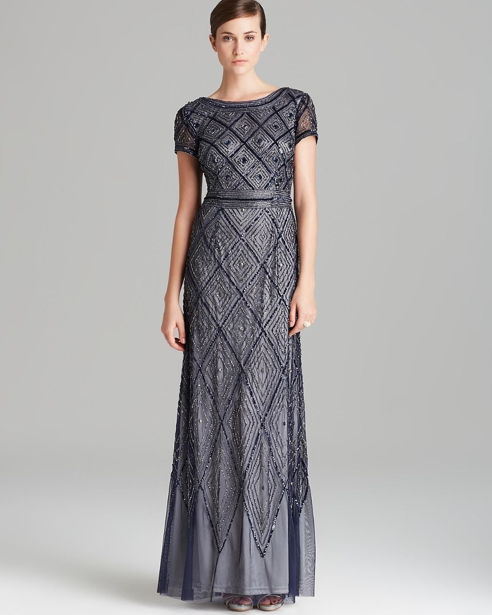 ADRIANNA PAPELL Beaded Mesh Gown Dress Sz 6