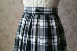 Black and White Plaid Skirt Mini Pleated Plaid Skirt Outfit A-line High Waisted image 5
