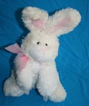 Animal Adventure Easter Bunny Rabbit Ivory Pink Plush Bow Stuffed 2008 Soft Toy - $15.78