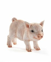 "7.5"" Light Pink Standing Pig Figurine w Textural Detailing Polyresin"