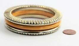 ESTATE VINTAGE Jewelry RARE BUTTERSCOTCH BAKELITE METAL CLAD BANGLE BRAC... - $165.00