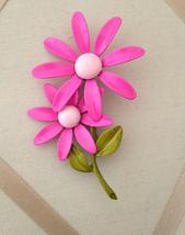 Vintage Large Pink Enamel Double Daisy Flower Fashion Brooch - $50.00