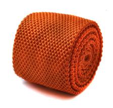 Frederick Thomas Knitted Silk Mens Tie - Dark Burnt Orange - Plain Skinny - $16.03