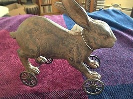 Reproduction of 1800s pull toy rabbit with wheels decor only NOT a toy