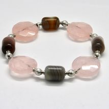 SILVER 925 BRACELET LAMINATED GOLD PINK WITH QUARTZ ROSE AND CHALCEDONY image 5