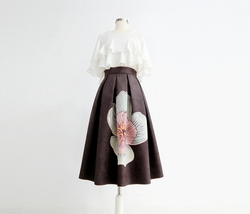 Black Midi Party Skirt with Pockets A-line Floral Black Party Skirt Outfit image 1