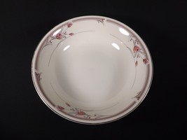 Sango Ivory Heather Round Vegetable BOWL-TAUPE Band Pink Floral Gray Leaves - $24.99