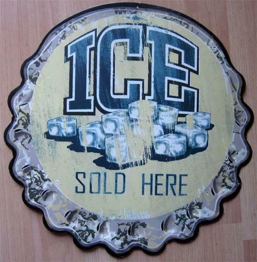 Primary image for Ice Sold Here Bottle Cap Embossed Plasma Cut Metal Sign
