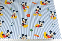 Disney Blue Striped Mickey Mouse Football 100% Cotton Fabric Material *3... - $1.79+