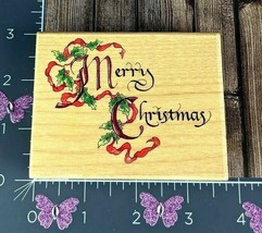 Stamps Happen Merry Christmas Holidays Rubber Stamp Calligraphy #H62 - $8.42