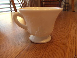 Milk glass tea cup grapes design white - $2.77