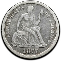 1877CC Silver Seated Dime 10¢ Coin Lot# A 440 image 1