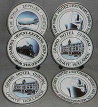 Set (6) The Cellar TRAVEL - TRANSPORTATION THEMED Salad Plates GREAT GRA... - $59.39