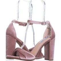 Steve Madden Clever Block-Heel Dress Sandals 071, Blush Velvet, 8.5 US - $31.67